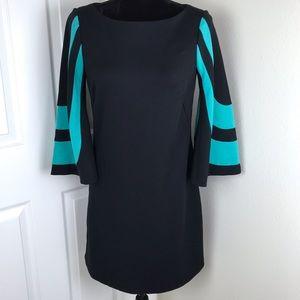 Trina Turk black 3/4 length sleeves blue stripes